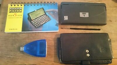 Psion Series 5 PDA plus book, case