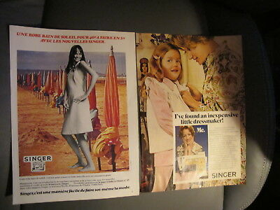 Vintage 1972/75,2 Singer Sewing Machine Print Ads,clippings