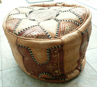 Vintage 1980's Patchwork Moroccan Leather Pouffe