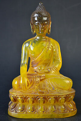 Chinese Culture Collectible Vintage Amber Resin Buddha Beauty Nice Statue