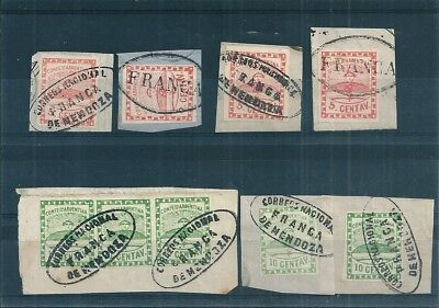 Argentina,Yvert n°1/2 on pieces of paper with nice cancellations,value$450/380e