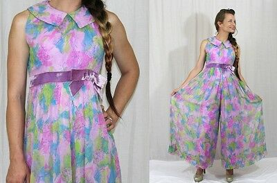 Vintage 60s 70s FLORAL Chiffon Sleeveless PALAZZO Retro Wide Leg Jumpsuit XS S