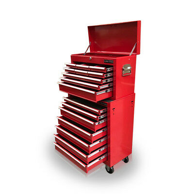 426 Tool Box Roller Cabinet Steel Chest 16 Drawers Gloss Red - Us Pro Tools