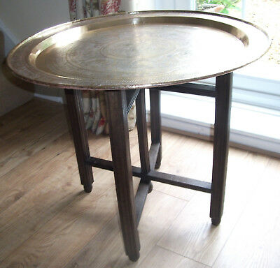 VINTAGE BENARES INDIAN / ASIAN FOLDING TABLE BASE with IMPRESSIVE BRASS TRAY TOP