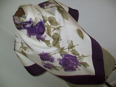 John Lewis. Large & Beautiful Stylised Roses Design Vintage Silk Scarf