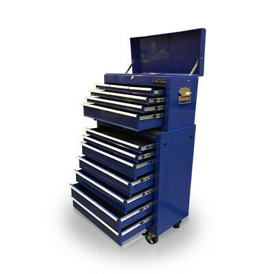 424 Tool Box Roller Cabinet Steel Chest Mechanics 13 Drawers Blue - Us Pro Tools
