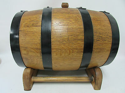 Oak Barrel Whiskey Port Wine Vintage Winery Coopers  Brass Tap And Stand