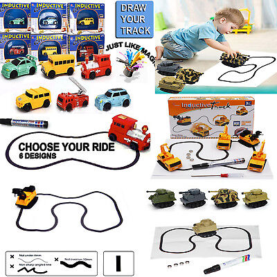Magic Smart Inductive Tanks Truck Car Follow Any Line You Draw Kids Teaching Toy
