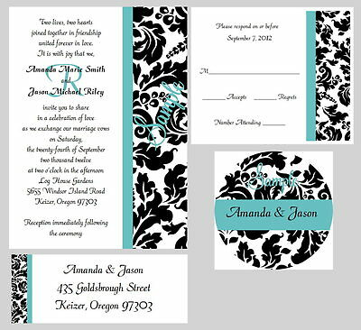 50 Personalized Monogram Stripe Damask Bridal Wedding Invitations Set Any Color