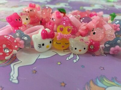 joblot bundle wholesale girls dress up rings x 27 resell party bags hello kitty