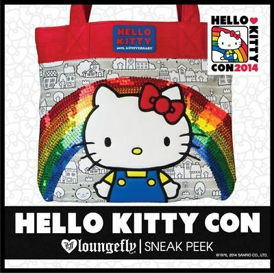Loungefly Hello Kitty Con Exclusive Anniversary Sequined Rainbow Tote Bag Purse