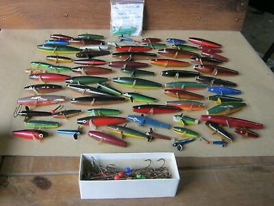 Large collection of vintage Devon Minnows (approx 67 total) plus box of mounts.