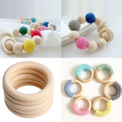 10 ABS / s Baby Natural Teething Rings Wooden Necklace Bracelet Crafts 60mm Pop