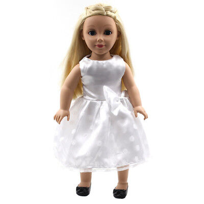 White Handmade Doll T-shirt Bowknot Dress for 18inch Toy Clothes Kids Toys Pop