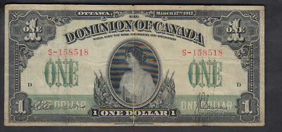 1917 Dominion Of Canada 1$ Dollar Bank Note