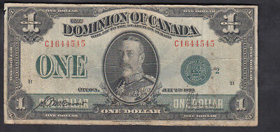 1923 Dominion Of Canada 1$ Dollar Bank Note Green Seal