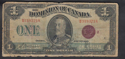 1923 Dominion Of Canada 1$ Dollar Bank Note Bronze Seal