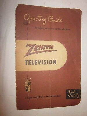 1944 Zenith Television Operating Guide manual vintage