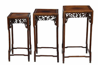 Set Of 19Th Century Carved Chinese Hardwood Nest Of Tables