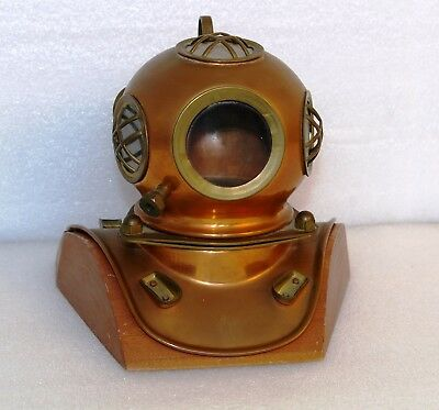 Diving Helmet Brass/Copper Decorative Antique 18cm Collectable With Wooden Base
