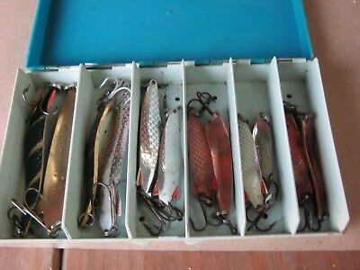 Collection of 12 TOBY LURES by ABU SWEDEN in ABU SVANGSTA LURE BOX.