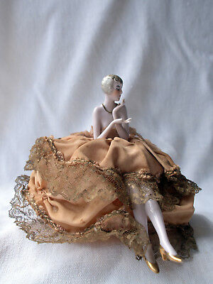 German Art Deco Porcelain Half Doll Powder Box Lid Seated Figure Pincushion