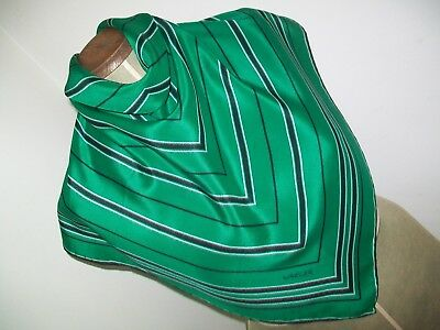 Jaeger. Smart Emerald & Black Geometric Design Vintage Silk Scarf
