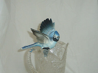 Vintage antique 5in porcelain Blue Jay clip on Bird decorative collectible