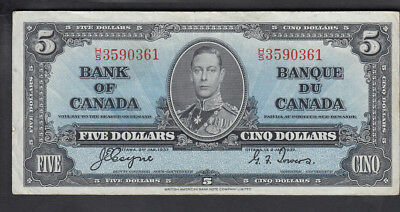 1937 Canada 5$ Dollars Bank Note Coyne/towers