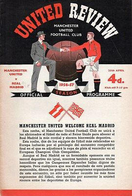 1956/57 Manchester United V Real Madrid European Cup Semi-Final Very Good
