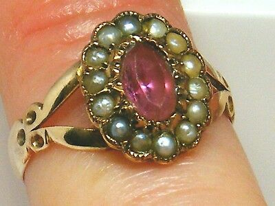 9ct Gold 9k Gold Antique Pink Tourmaline & Seedpearl ring size I