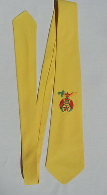 Vintage 1950s Silk SHRINERS Tie - Brilliant Yellow Necktie for a Good Guy