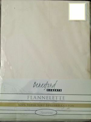 King Size Winterwarm 100% Brushed Cotton Flannelette Fitted Sheet In Plain Cream