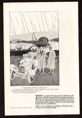 1923 KELLY Springfield Tires vintage Print AD - Yorkshire, Laurence Fellows art