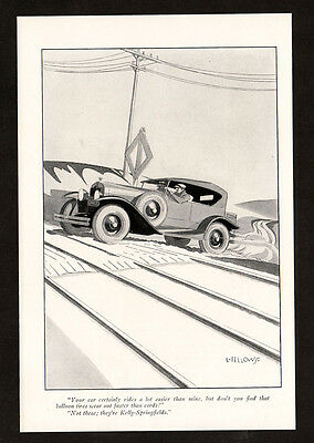 1926 KELLY Springfield Tires vintage Print AD - track, car, Laurence Fellows art
