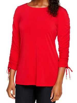 NEW Susan Graver Liquid Knit Bateau Neck Top with Ruched Sleeves 234982