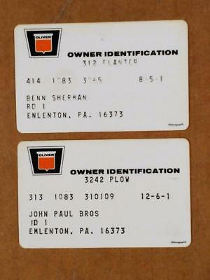 7210-3-----early 1970s Oliver owner warranty cards lot of 2