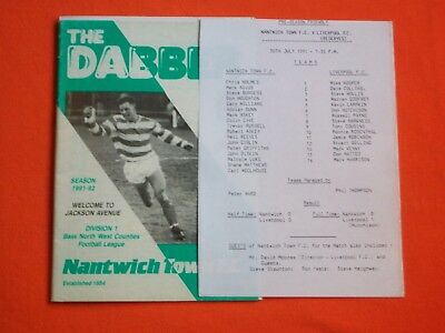 Nantwich Town v Liverpool Reserves,  Friendly   30th July 1991  + Team Sheet