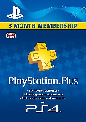 Playstation Plus 3 Months Membership Subscription (PS4) BRAND NEW AND SEALED