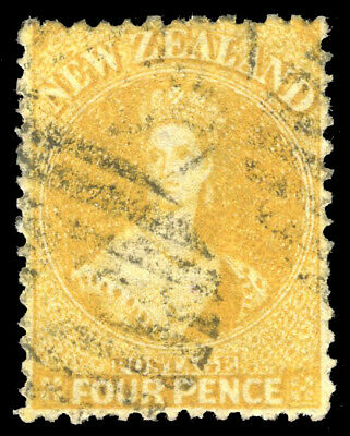 New Zealand 1866 QV 4d yellow used cat £120 ($162). SG 120. Sc 35.