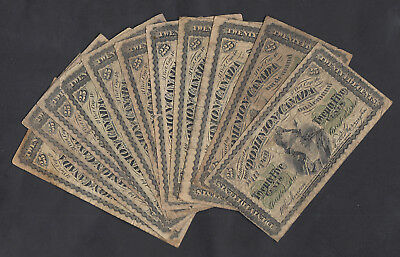 1870 Dominion Of Canada 25 Cents Bank Notes Lot Of 11