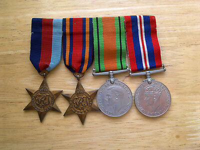 4 Ww2 Medals On A Ribbon Bar
