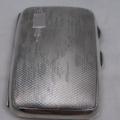 ART DECO SOLID SILVER ENGINE TURNED CIGARETTE CASE JOSEPH GLOSTER 1936 48 g
