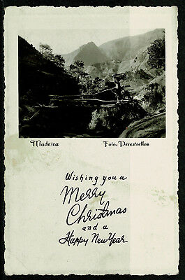 Early Real Photo Postcard - Madeira Portugal - Rural Scene - Christmas Greetings