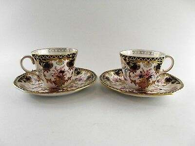 Two Antique Royal Crown Derby Cups & Saucers In Imari Patt. 3788 Dated 1919 R7/4
