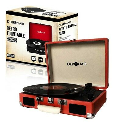 Debonair Retro Briefcase Style Turntable Record Player with Built in Speakers