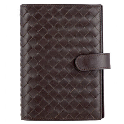 51848 auth BOTTEGA VENETA dark brown woven leather Agenda Cover