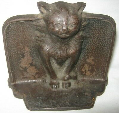Single Antique Cast Iron Gothic Medieval Cat Art Statue Sculpture Home Bookend