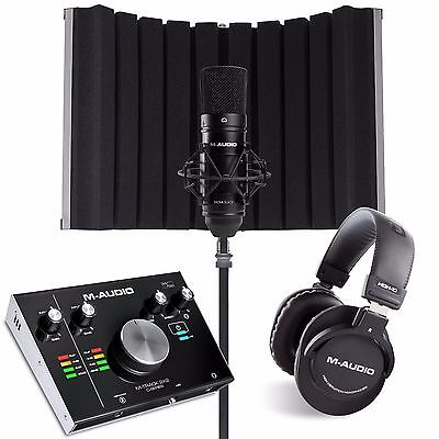 M AUDIO M-TRACK 2X2 VOCAL STUDIO PRO with software, mic stand and Sound shield