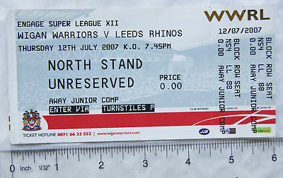 2007 ticket + stub Wigan Warriors v. Leeds Rhinos, away junior